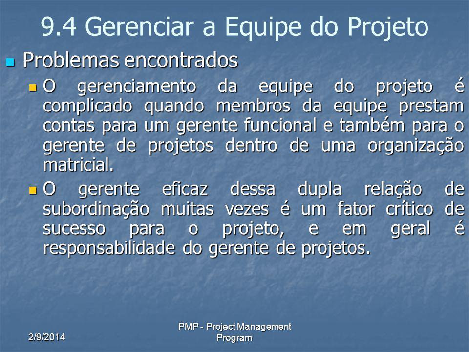 2/9/2014 PMP - Project Management Program 9.4 Gerenciar a Equipe do Projeto Problemas encontrados Problemas encontrados O gerenciamento da equipe do p