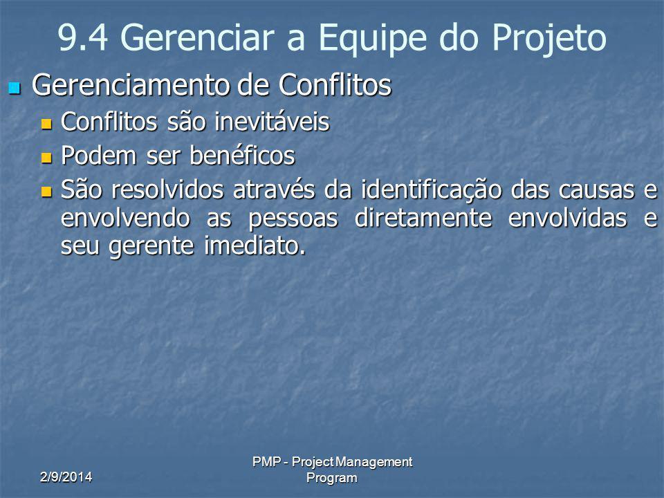 2/9/2014 PMP - Project Management Program 9.4 Gerenciar a Equipe do Projeto Gerenciamento de Conflitos Gerenciamento de Conflitos Conflitos são inevit