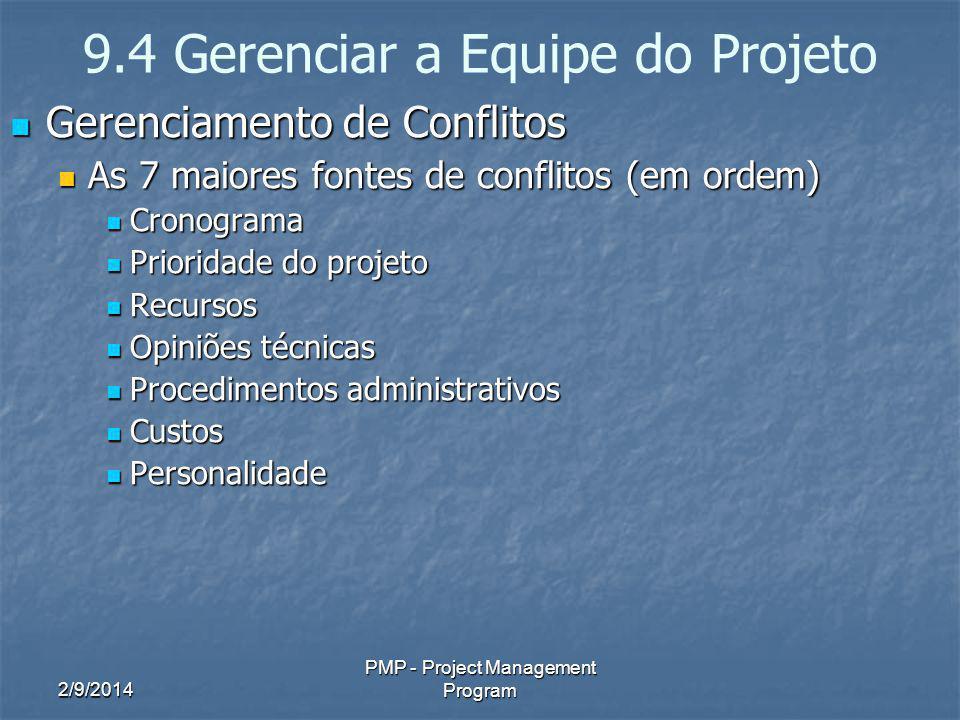 2/9/2014 PMP - Project Management Program 9.4 Gerenciar a Equipe do Projeto Gerenciamento de Conflitos Gerenciamento de Conflitos As 7 maiores fontes