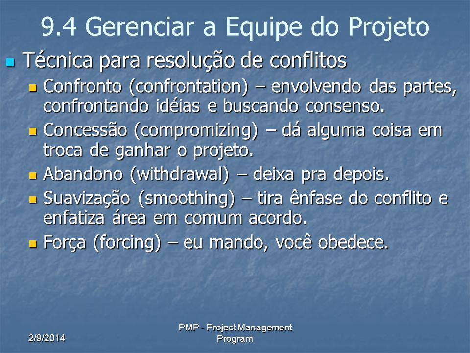2/9/2014 PMP - Project Management Program 9.4 Gerenciar a Equipe do Projeto Técnica para resolução de conflitos Técnica para resolução de conflitos Co