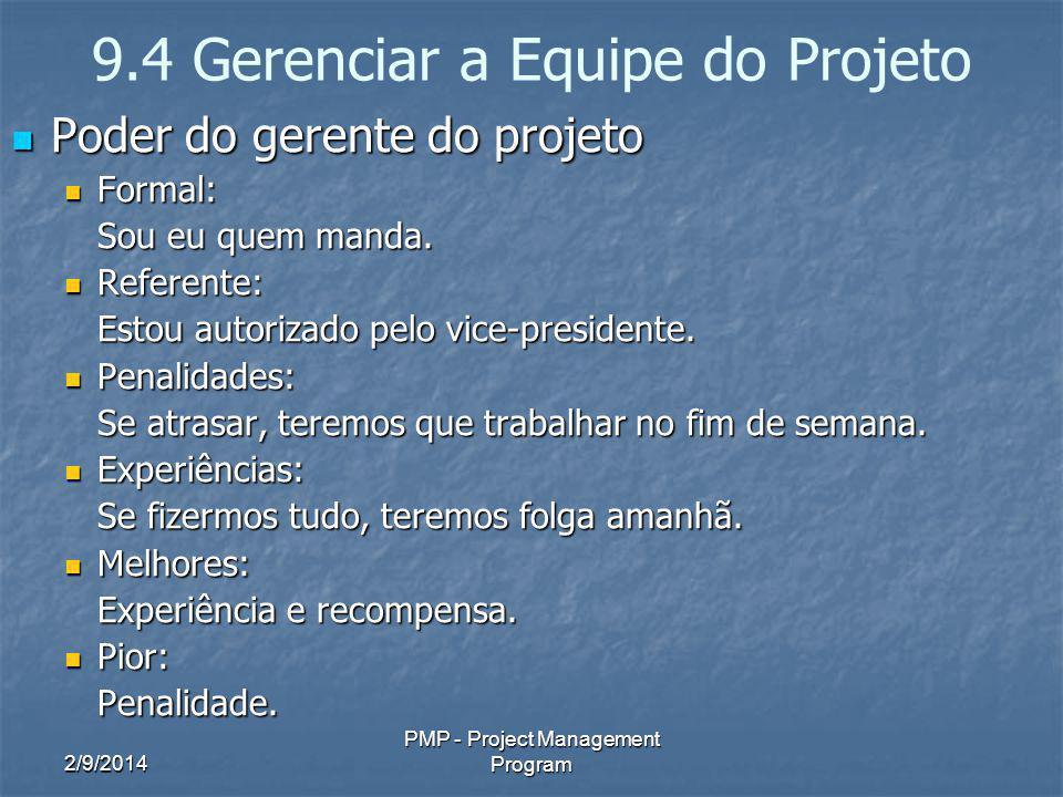 2/9/2014 PMP - Project Management Program 9.4 Gerenciar a Equipe do Projeto Poder do gerente do projeto Poder do gerente do projeto Formal: Formal: So