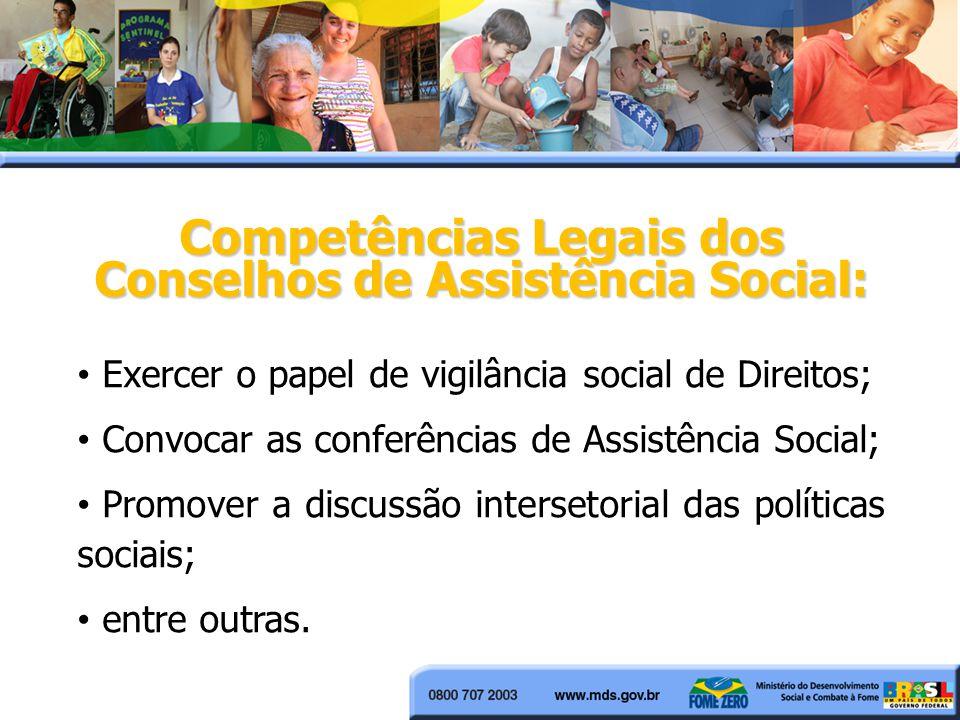 Exercer o papel de vigilância social de Direitos; Convocar as conferências de Assistência Social; Promover a discussão intersetorial das políticas sociais; entre outras.
