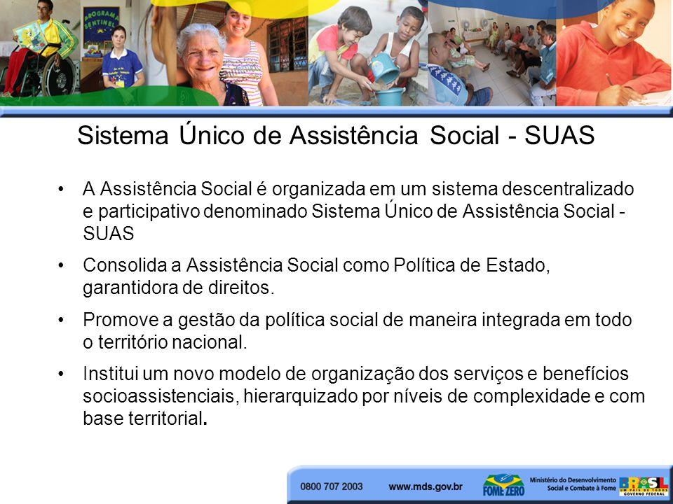 Sistema Único de Assistência Social - SUAS A Assistência Social é organizada em um sistema descentralizado e participativo denominado Sistema Único de Assistência Social - SUAS Consolida a Assistência Social como Política de Estado, garantidora de direitos.