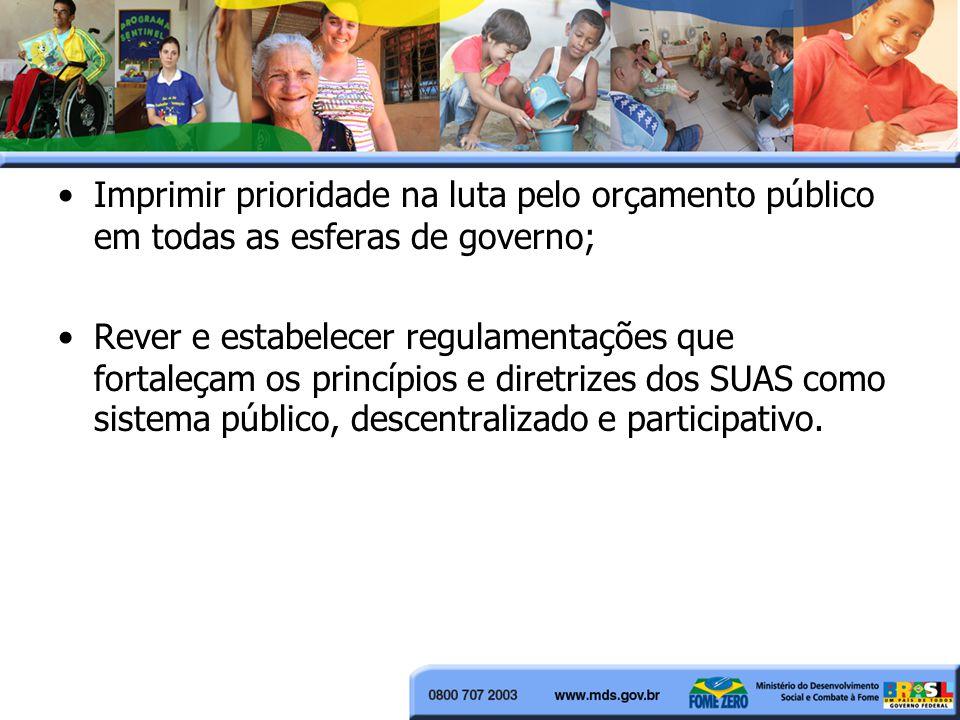 Imprimir prioridade na luta pelo orçamento público em todas as esferas de governo; Rever e estabelecer regulamentações que fortaleçam os princípios e diretrizes dos SUAS como sistema público, descentralizado e participativo.