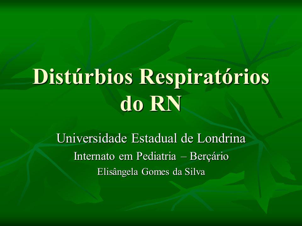 Distúrbios Respiratórios do RN Universidade Estadual de Londrina Internato em Pediatria – Berçário Elisângela Gomes da Silva
