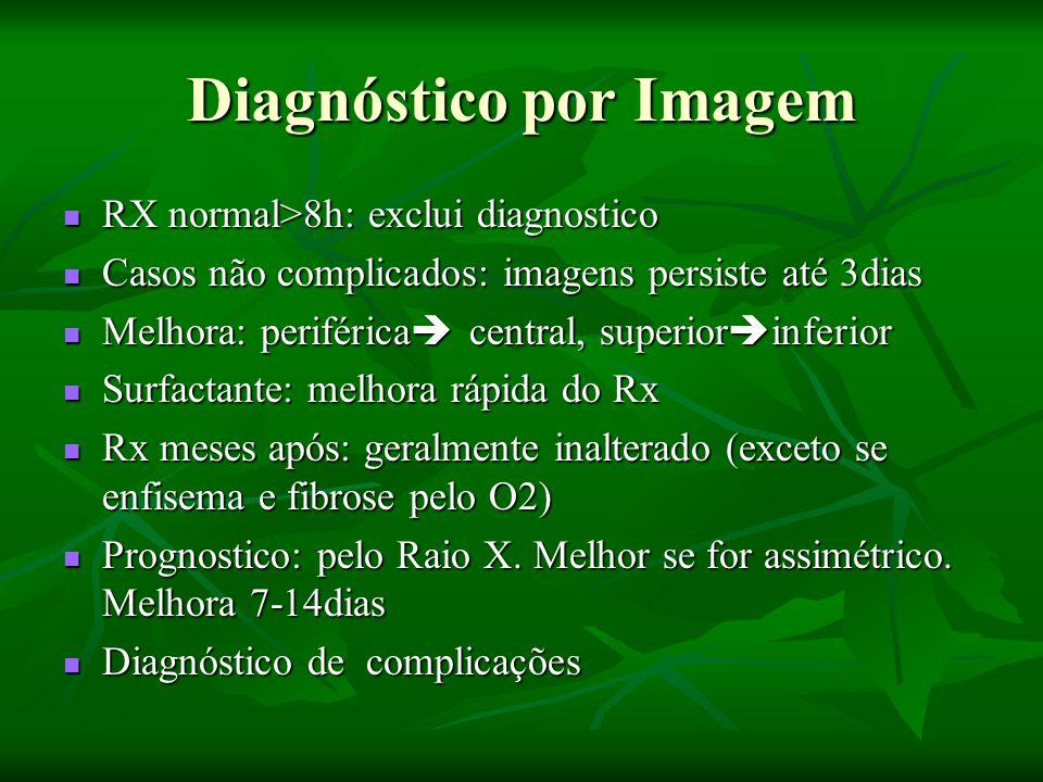 Diagnóstico por Imagem RX normal>8h: exclui diagnostico RX normal>8h: exclui diagnostico Casos não complicados: imagens persiste até 3dias Casos não complicados: imagens persiste até 3dias Melhora: periférica  central, superior  inferior Melhora: periférica  central, superior  inferior Surfactante: melhora rápida do Rx Surfactante: melhora rápida do Rx Rx meses após: geralmente inalterado (exceto se enfisema e fibrose pelo O2) Rx meses após: geralmente inalterado (exceto se enfisema e fibrose pelo O2) Prognostico: pelo Raio X.