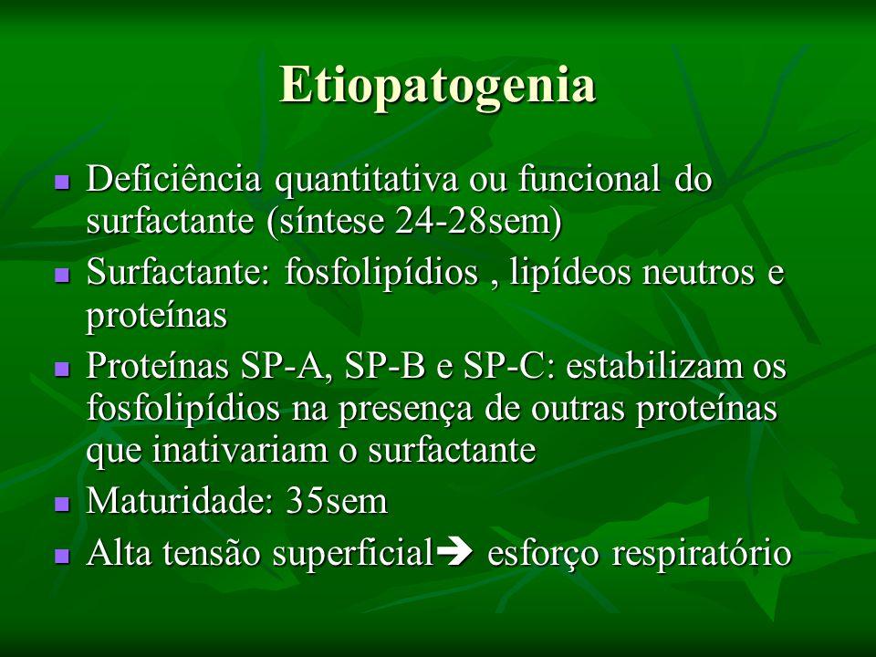 Quadro Clínico Capacidade residual diminuída Capacidade residual diminuída Capacidade vital do choro diminuída Capacidade vital do choro diminuída Trabalho respiratório aumentado Trabalho respiratório aumentado Shunt esquerdo-direito (ducto arterioso permeável) Shunt esquerdo-direito (ducto arterioso permeável) Pressão nas artérias pulmonar e sistêmica baixas Pressão nas artérias pulmonar e sistêmica baixas