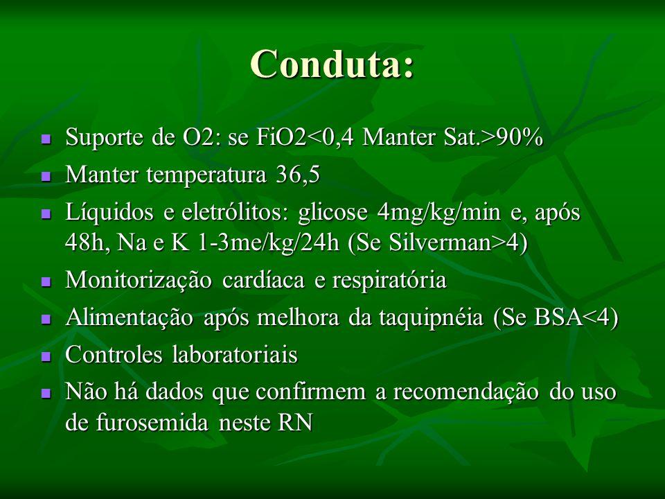 Conduta: Suporte de O2: se FiO2 90% Suporte de O2: se FiO2 90% Manter temperatura 36,5 Manter temperatura 36,5 Líquidos e eletrólitos: glicose 4mg/kg/min e, após 48h, Na e K 1-3me/kg/24h (Se Silverman>4) Líquidos e eletrólitos: glicose 4mg/kg/min e, após 48h, Na e K 1-3me/kg/24h (Se Silverman>4) Monitorização cardíaca e respiratória Monitorização cardíaca e respiratória Alimentação após melhora da taquipnéia (Se BSA<4) Alimentação após melhora da taquipnéia (Se BSA<4) Controles laboratoriais Controles laboratoriais Não há dados que confirmem a recomendação do uso de furosemida neste RN Não há dados que confirmem a recomendação do uso de furosemida neste RN