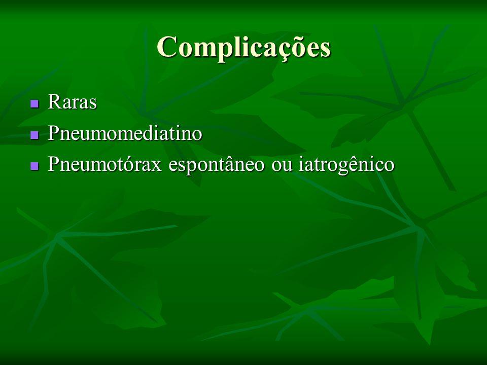 Complicações Raras Raras Pneumomediatino Pneumomediatino Pneumotórax espontâneo ou iatrogênico Pneumotórax espontâneo ou iatrogênico