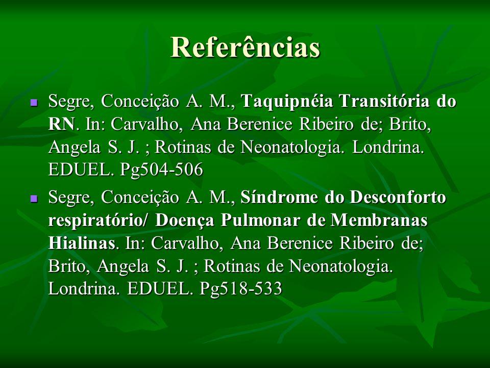Referências Segre, Conceição A.M., Taquipnéia Transitória do RN.