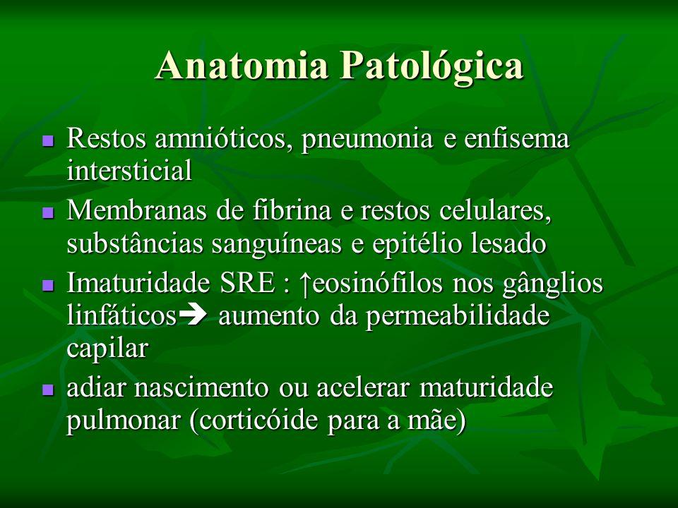 Complicações da SDR Pneumotórax Pneumotórax Enfisema Intersticial Enfisema Intersticial Atelectasia Atelectasia HIC HIC Hiperbilirrubinemia; Kernicterus em baixos níveis de BII.