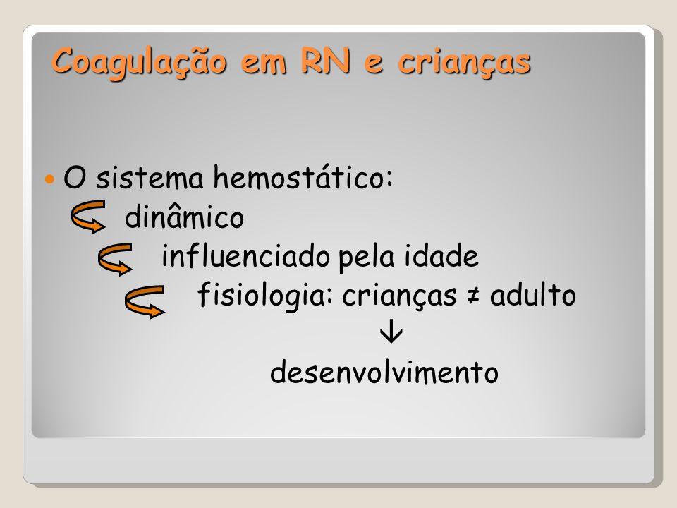 Coagulação em RN e crianças Sistema hemostático do RN ≠ adulto: Diminuição na síntese Aumento na depuração das proteínas Síntese das proteínas fetais < ativas Ativação da coagulação ao nascimento