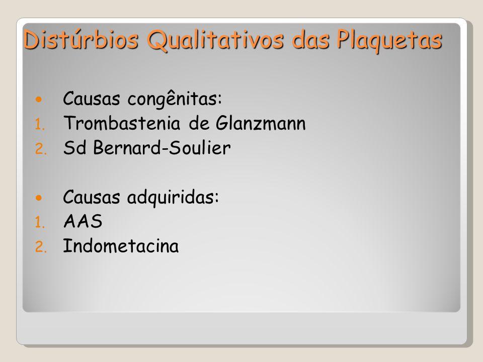 Causas congênitas: 1. Trombastenia de Glanzmann 2. Sd Bernard-Soulier Causas adquiridas: 1. AAS 2. Indometacina Distúrbios Qualitativos das Plaquetas