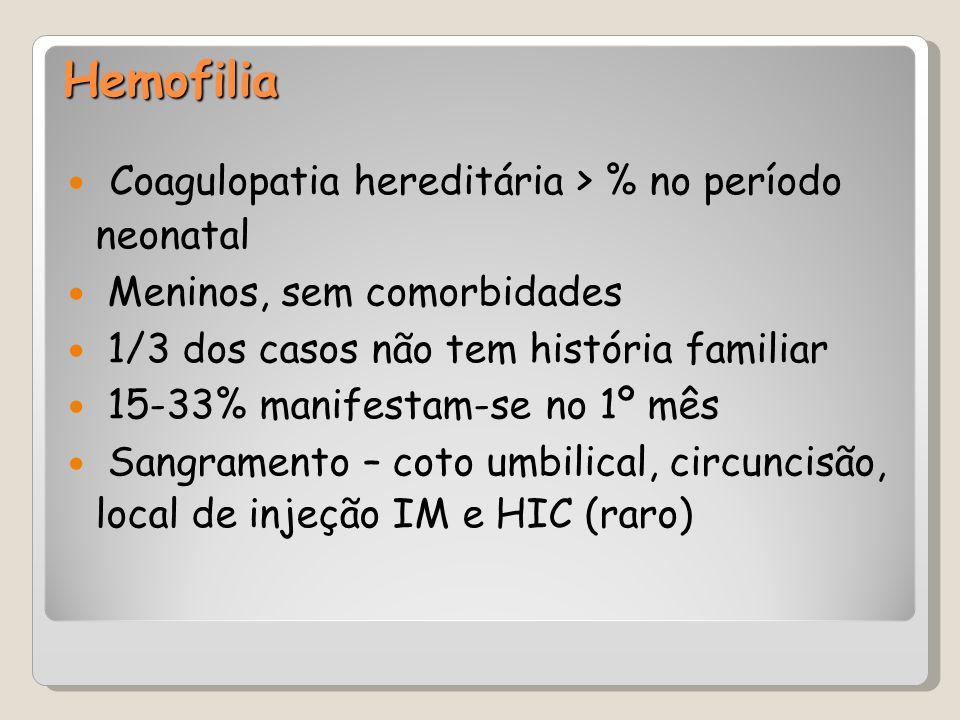 Hemofilia Coagulopatia hereditária > % no período neonatal Meninos, sem comorbidades 1/3 dos casos não tem história familiar 15-33% manifestam-se no 1
