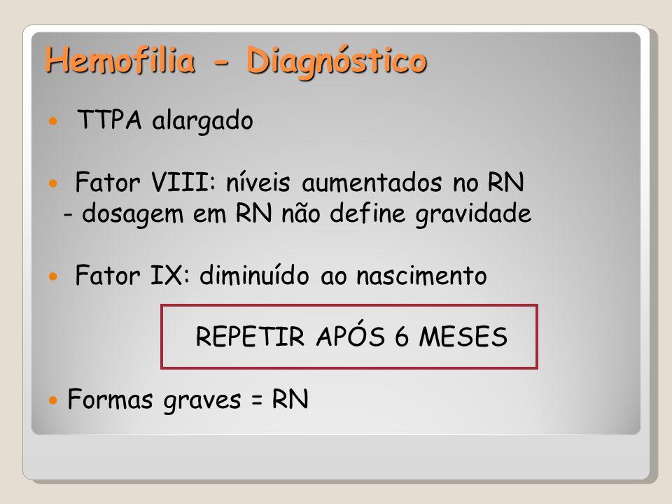 Hemofilia - Diagnóstico TTPA alargado Fator VIII: níveis aumentados no RN - dosagem em RN não define gravidade Fator IX: diminuído ao nascimento REPET
