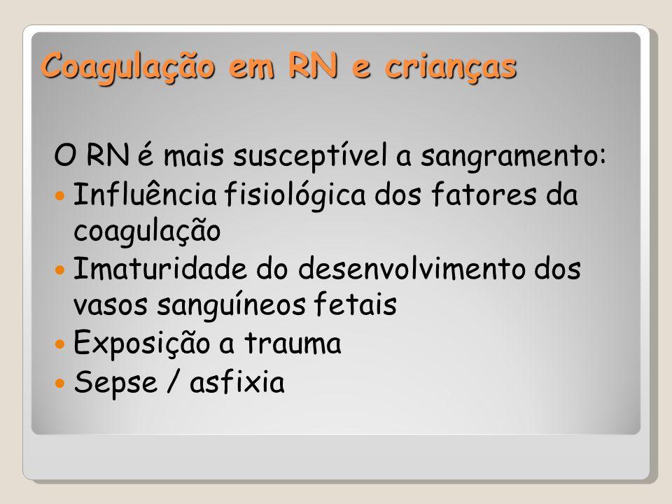 Coagulação em RN e crianças O RN é mais susceptível a sangramento: Influência fisiológica dos fatores da coagulação Imaturidade do desenvolvimento dos