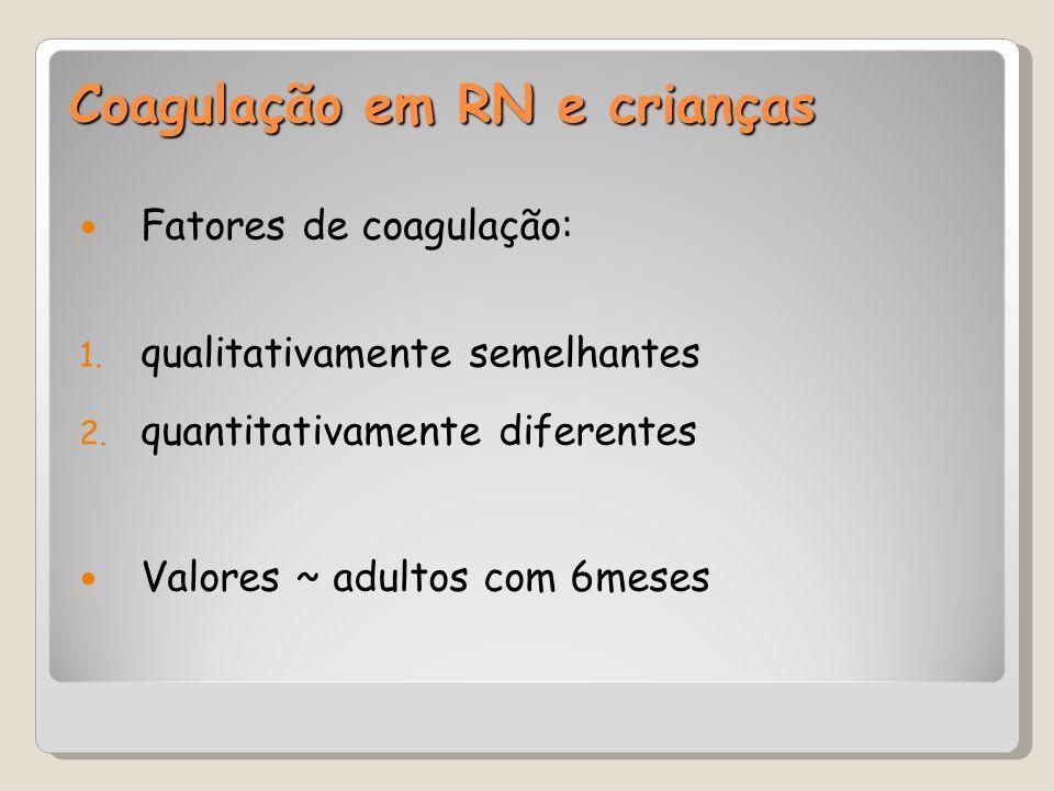 Coagulação em RN e crianças Fatores de coagulação: 1. qualitativamente semelhantes 2. quantitativamente diferentes Valores ~ adultos com 6meses