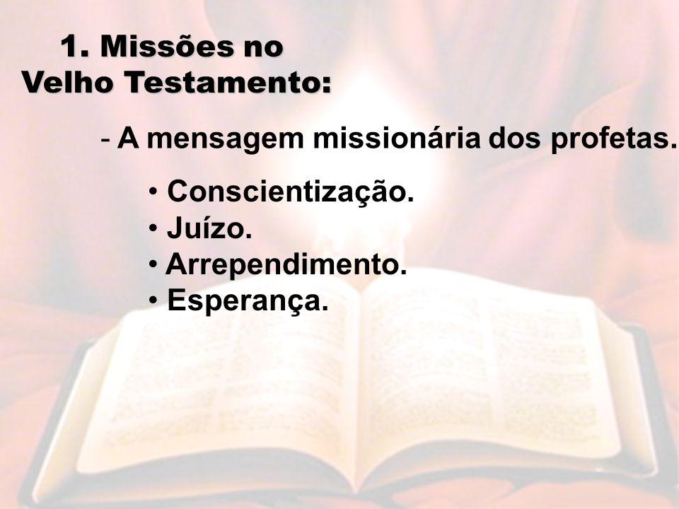 1.Missões no Velho Testamento: - A mensagem missionária dos profetas.