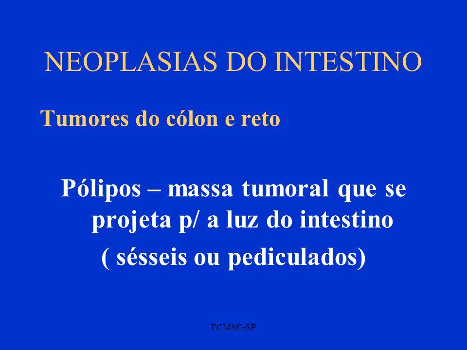 FCMSC-SP NEOPLASIAS DO INTESTINO Tumores do cólon e reto Pólipos – massa tumoral que se projeta p/ a luz do intestino ( sésseis ou pediculados)