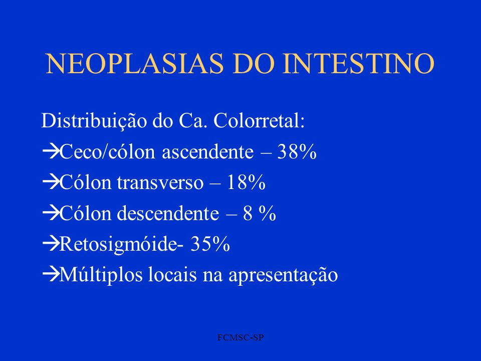 FCMSC-SP NEOPLASIAS DO INTESTINO Distribuição do Ca.