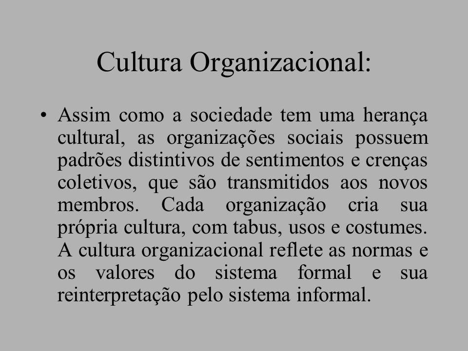 Cultura Organizacional: Assim como a sociedade tem uma herança cultural, as organizações sociais possuem padrões distintivos de sentimentos e crenças coletivos, que são transmitidos aos novos membros.