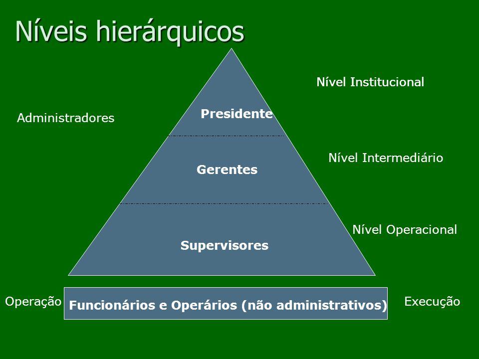 Níveis de organização Administração das operações e supervisão da execução da tarefa.