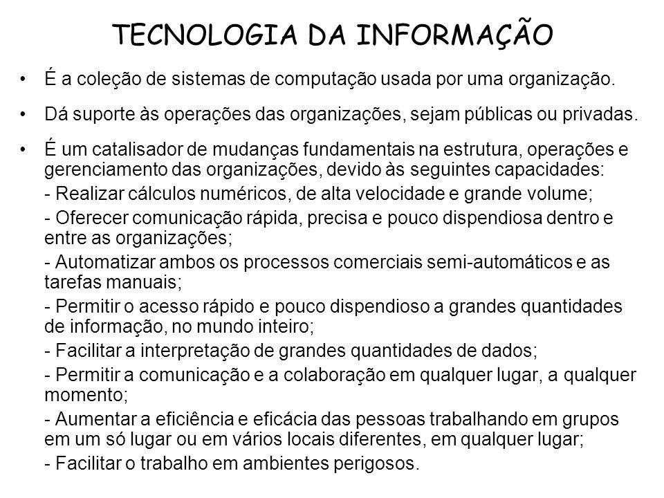TECNOLOGIA DA INFORMAÇÃO É a coleção de sistemas de computação usada por uma organização. Dá suporte às operações das organizações, sejam públicas ou
