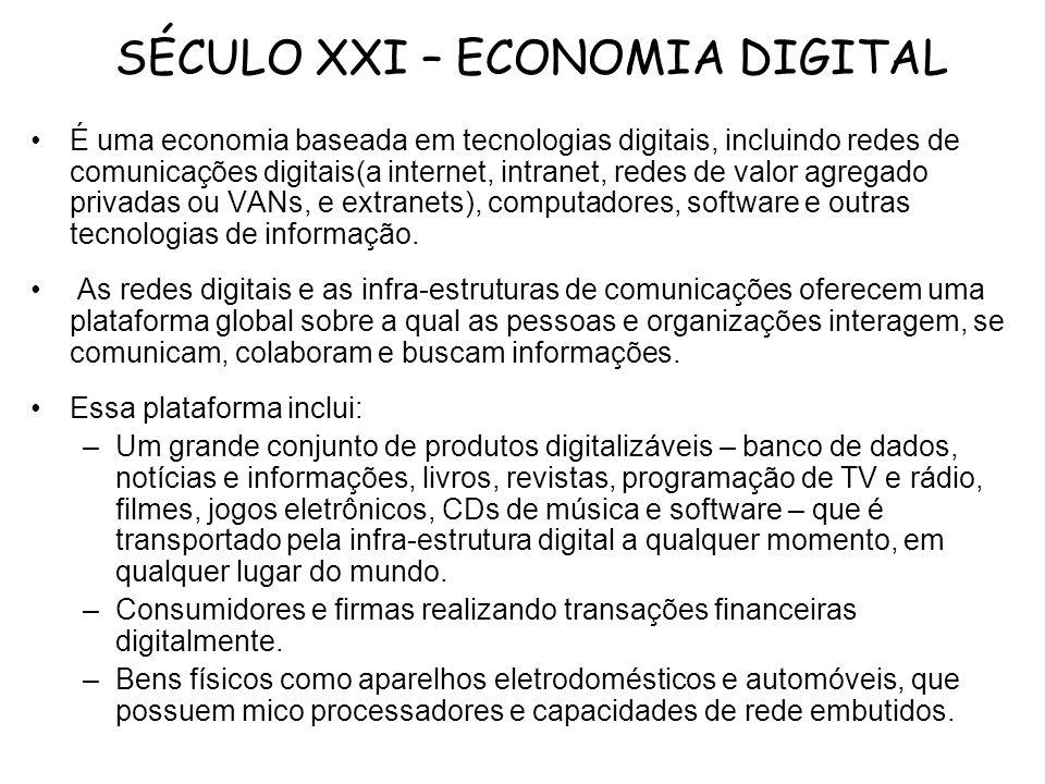 SÉCULO XXI – ECONOMIA DIGITAL É uma economia baseada em tecnologias digitais, incluindo redes de comunicações digitais(a internet, intranet, redes de