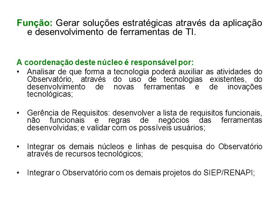 Função: Gerar soluções estratégicas através da aplicação e desenvolvimento de ferramentas de TI.