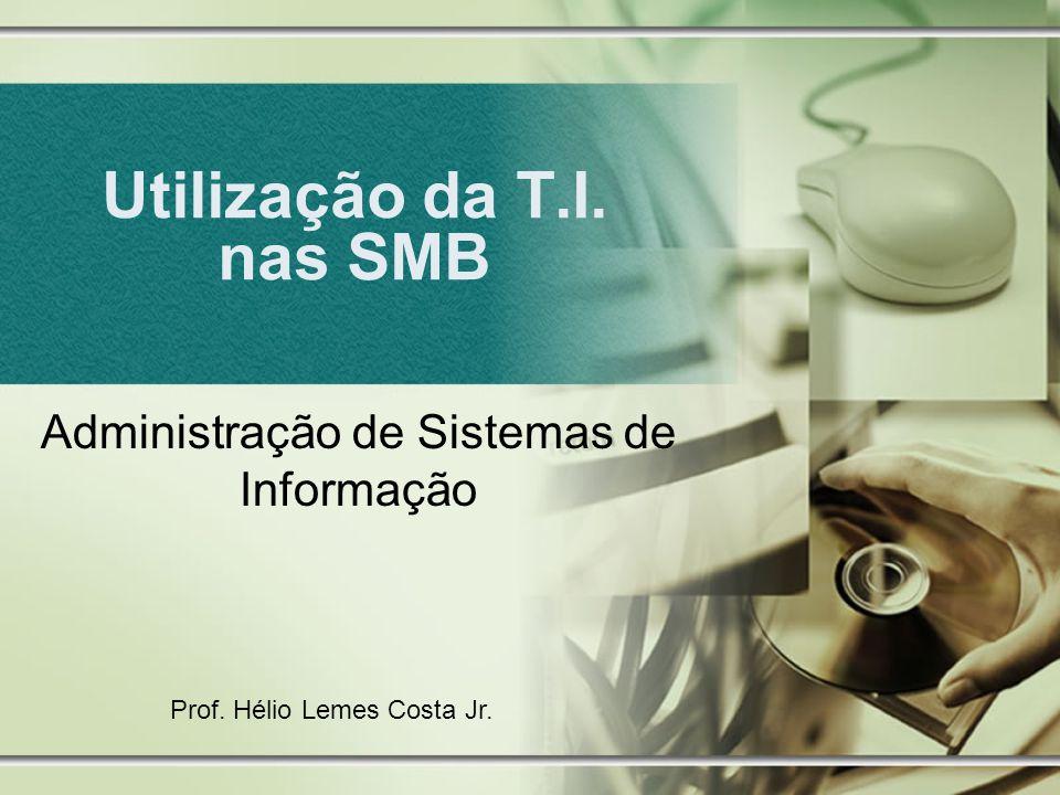 Utilização da T.I. nas SMB Administração de Sistemas de Informação Prof. Hélio Lemes Costa Jr.