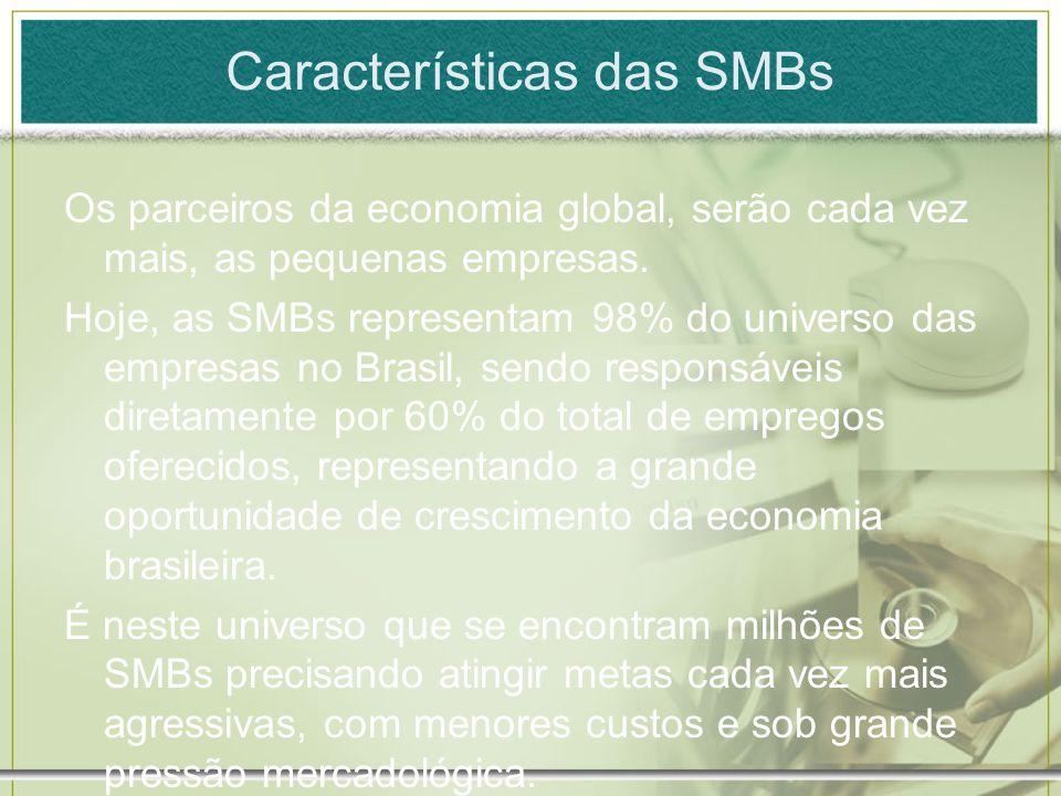 Características das SMBs Os parceiros da economia global, serão cada vez mais, as pequenas empresas. Hoje, as SMBs representam 98% do universo das emp