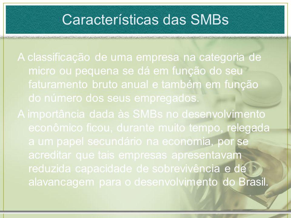 Características das SMBs A classificação de uma empresa na categoria de micro ou pequena se dá em função do seu faturamento bruto anual e também em fu