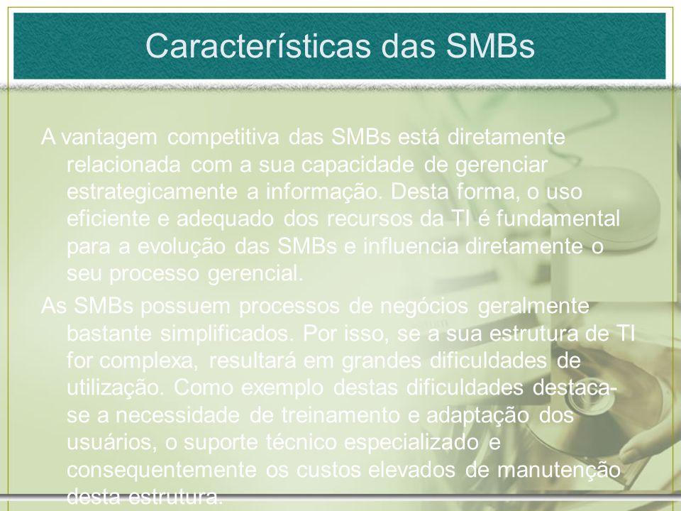 Características das SMBs A vantagem competitiva das SMBs está diretamente relacionada com a sua capacidade de gerenciar estrategicamente a informação.