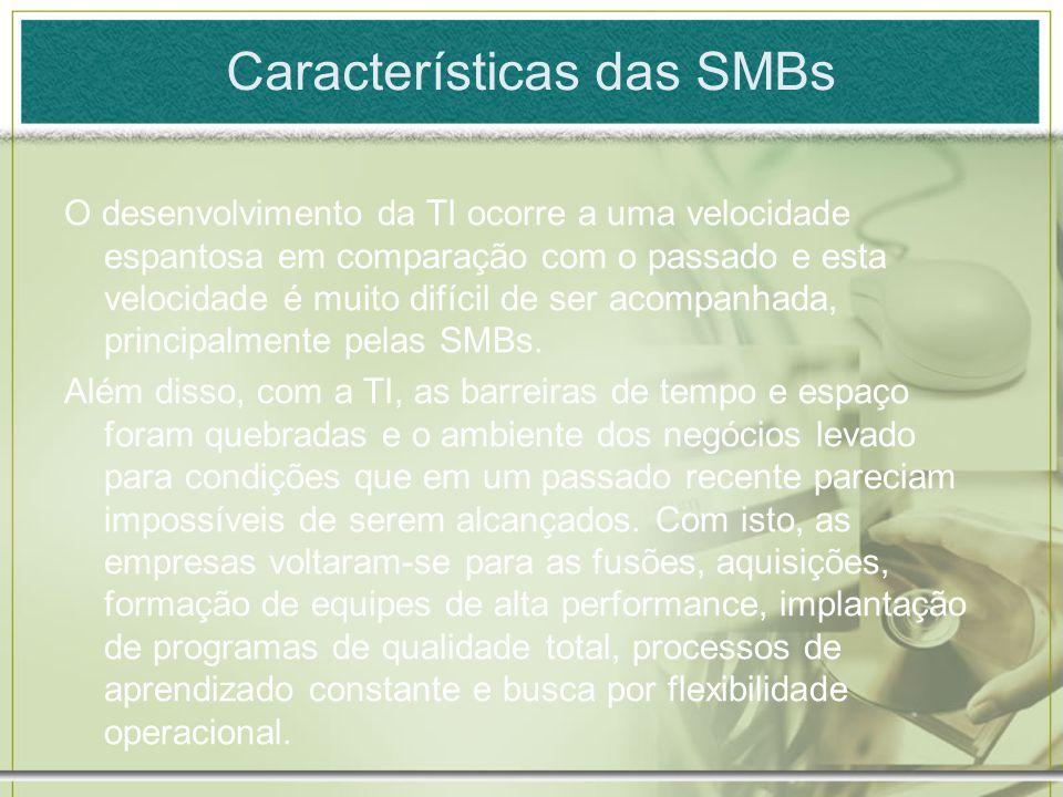 Características das SMBs O desenvolvimento da TI ocorre a uma velocidade espantosa em comparação com o passado e esta velocidade é muito difícil de se