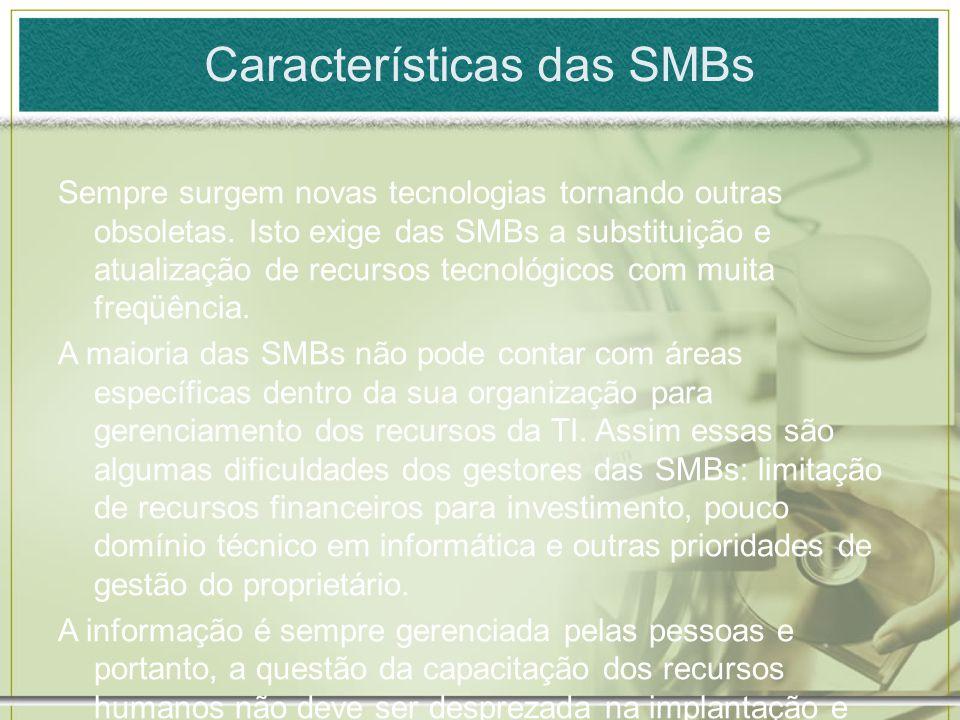 Características das SMBs Sempre surgem novas tecnologias tornando outras obsoletas. Isto exige das SMBs a substituição e atualização de recursos tecno