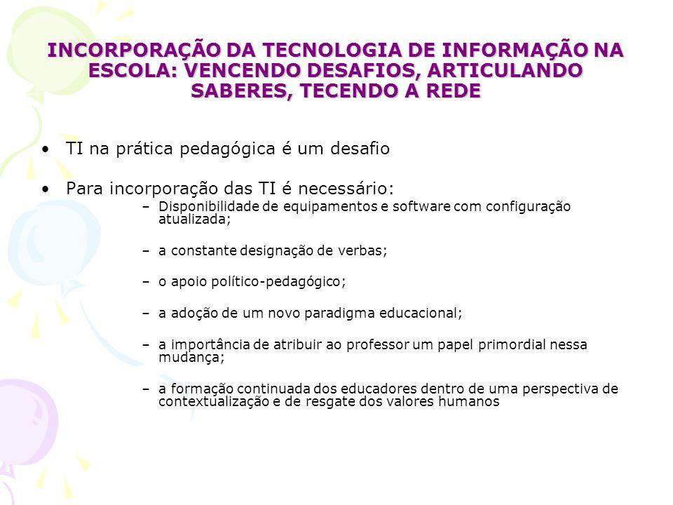 INCORPORAÇÃO DA TECNOLOGIA DE INFORMAÇÃO NA ESCOLA: VENCENDO DESAFIOS, ARTICULANDO SABERES, TECENDO A REDE TI na prática pedagógica é um desafio Para incorporação das TI é necessário: –Disponibilidade de equipamentos e software com configuração atualizada; –a constante designação de verbas; –o apoio político-pedagógico; –a adoção de um novo paradigma educacional; –a importância de atribuir ao professor um papel primordial nessa mudança; –a formação continuada dos educadores dentro de uma perspectiva de contextualização e de resgate dos valores humanos
