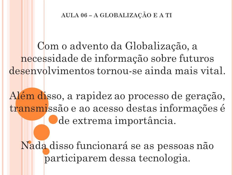 Com o advento da Globalização, a necessidade de informação sobre futuros desenvolvimentos tornou-se ainda mais vital. Além disso, a rapidez ao process