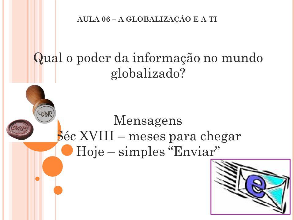"""Qual o poder da informação no mundo globalizado? Mensagens Séc XVIII – meses para chegar Hoje – simples """"Enviar"""" AULA 06 – A GLOBALIZAÇÃO E A TI"""