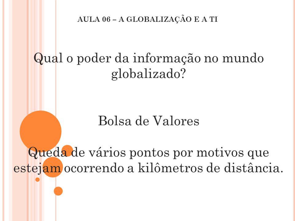 Qual o poder da informação no mundo globalizado? Bolsa de Valores Queda de vários pontos por motivos que estejam ocorrendo a kilômetros de distância.