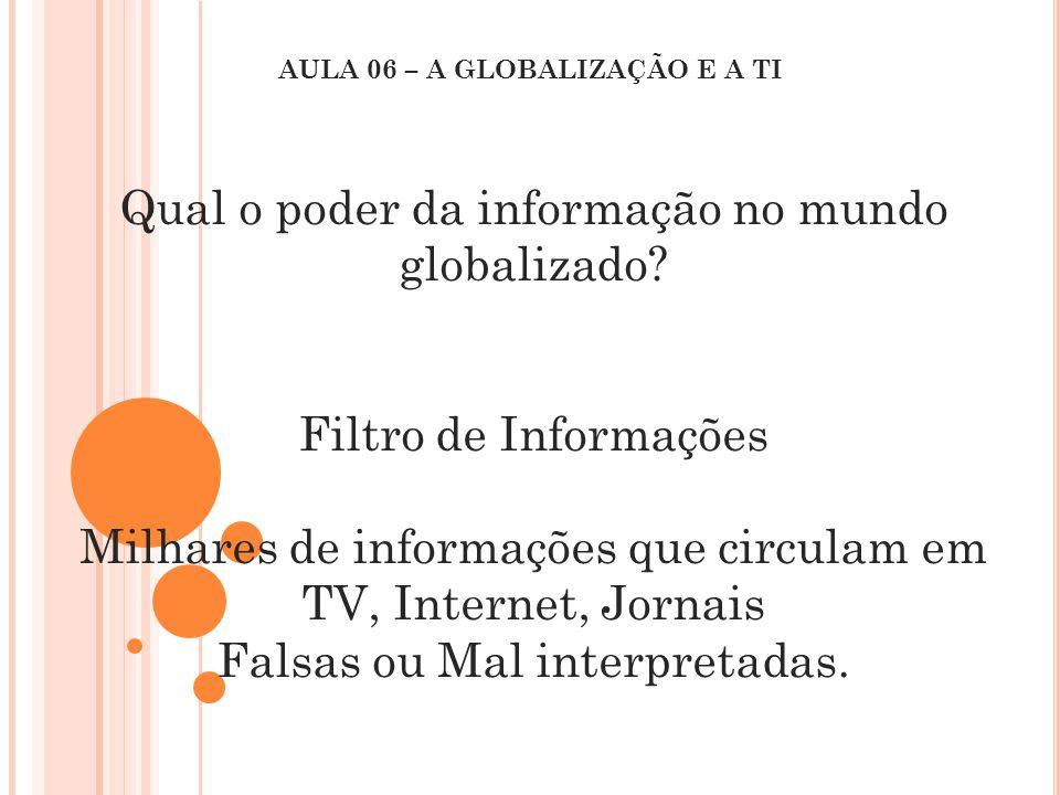 Qual o poder da informação no mundo globalizado? Filtro de Informações Milhares de informações que circulam em TV, Internet, Jornais Falsas ou Mal int