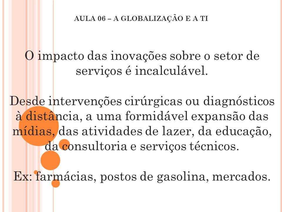 O impacto das inovações sobre o setor de serviços é incalculável. Desde intervenções cirúrgicas ou diagnósticos à distância, a uma formidável expansão