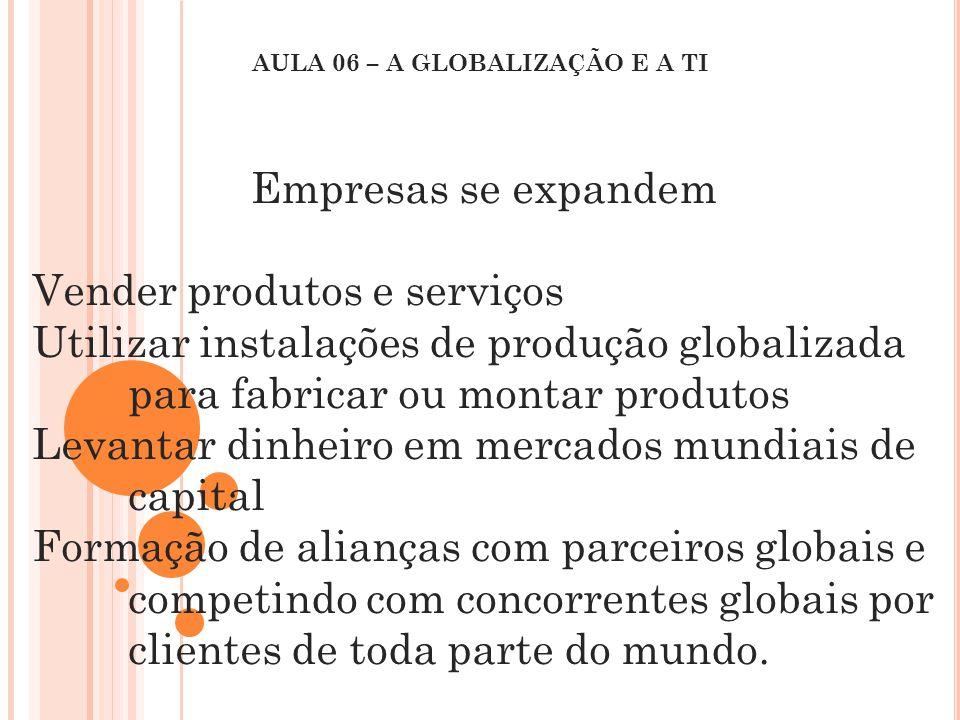 Empresas se expandem Vender produtos e serviços Utilizar instalações de produção globalizada para fabricar ou montar produtos Levantar dinheiro em mer