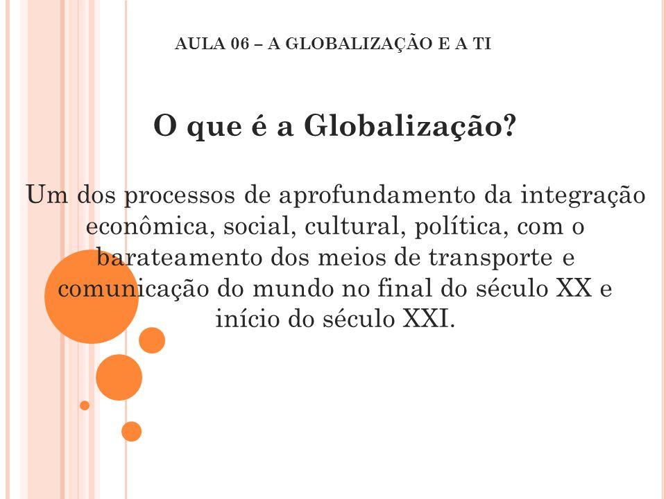 O que é a Globalização? Um dos processos de aprofundamento da integração econômica, social, cultural, política, com o barateamento dos meios de transp
