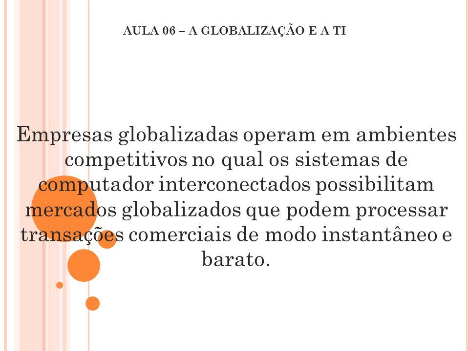 Empresas globalizadas operam em ambientes competitivos no qual os sistemas de computador interconectados possibilitam mercados globalizados que podem