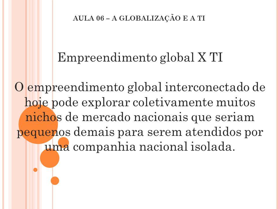 Empreendimento global X TI O empreendimento global interconectado de hoje pode explorar coletivamente muitos nichos de mercado nacionais que seriam pe
