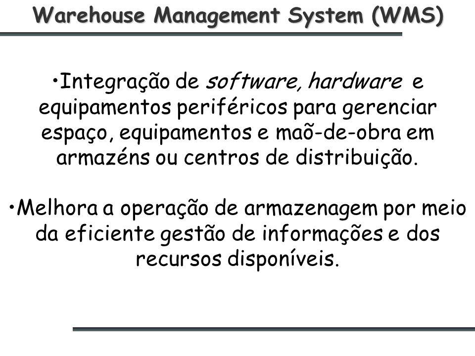 Warehouse Management System (WMS) Integração de software, hardware e equipamentos periféricos para gerenciar espaço, equipamentos e maõ-de-obra em armazéns ou centros de distribuição.