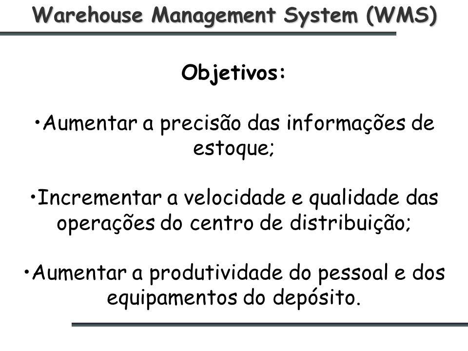 Warehouse Management System (WMS) Objetivos: Aumentar a precisão das informações de estoque; Incrementar a velocidade e qualidade das operações do centro de distribuição; Aumentar a produtividade do pessoal e dos equipamentos do depósito.