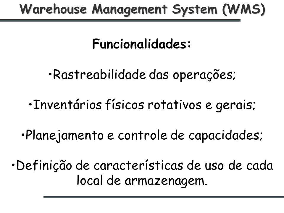 Warehouse Management System (WMS) Funcionalidades: Rastreabilidade das operações; Inventários físicos rotativos e gerais; Planejamento e controle de capacidades; Definição de características de uso de cada local de armazenagem.