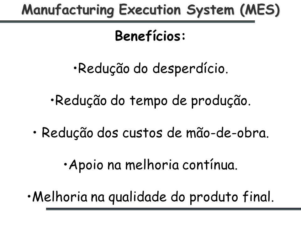 Manufacturing Execution System (MES) Benefícios: Redução do desperdício.