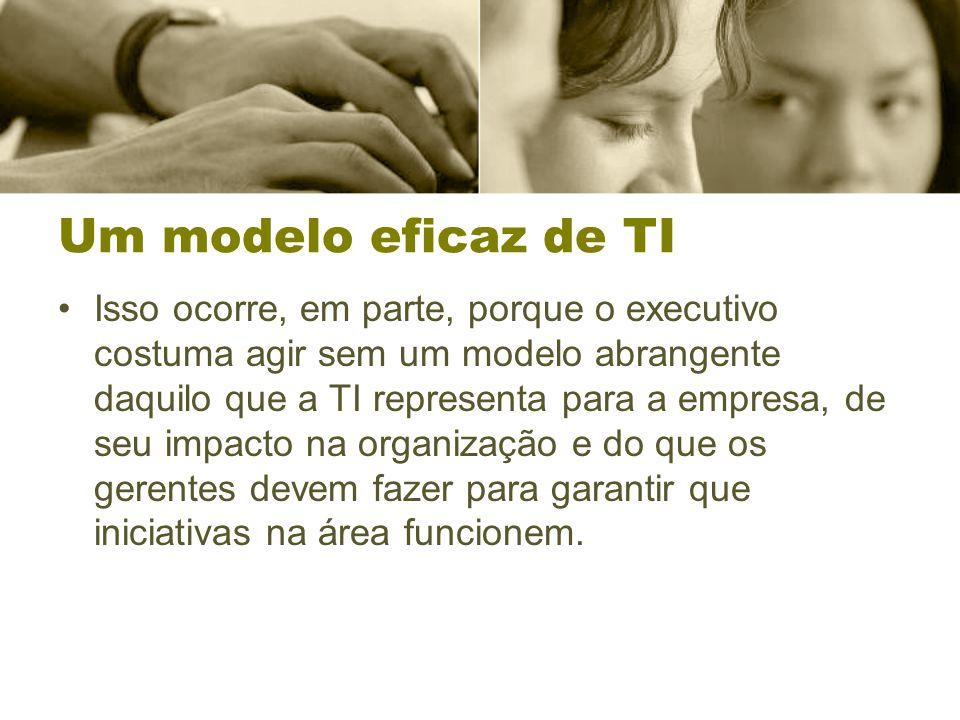Um modelo eficaz de TI Isso ocorre, em parte, porque o executivo costuma agir sem um modelo abrangente daquilo que a TI representa para a empresa, de seu impacto na organização e do que os gerentes devem fazer para garantir que iniciativas na área funcionem.